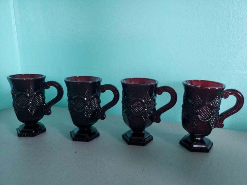 Set of 4 Avon Cape Cod Ruby Red COFFEE MUGS