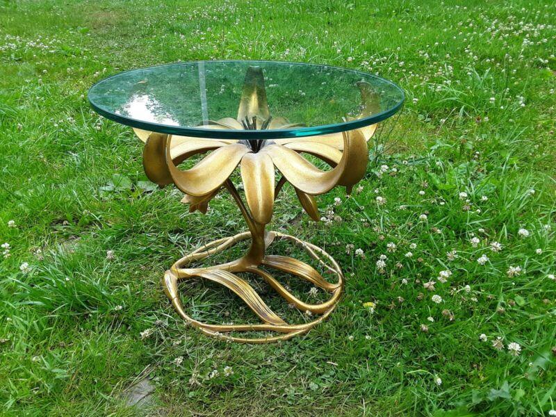 Arthur Court Gilt Lilly Glass Top Table READ