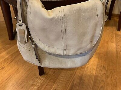 b makowsky leather handbag crossbody beige Cream Zippered Cheetah Print Interior