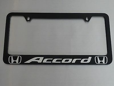 Honda accord license plate frame,  black PLASTIC, Brushed aluminum text