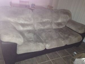 Beige micro suede couch