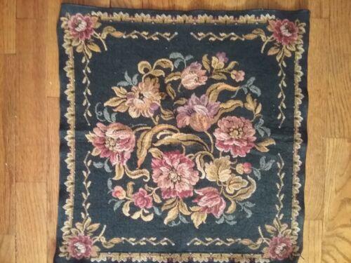 "European Belgium Floral Woven Jacquard Tapestry 18"" x 19"" Excellent"
