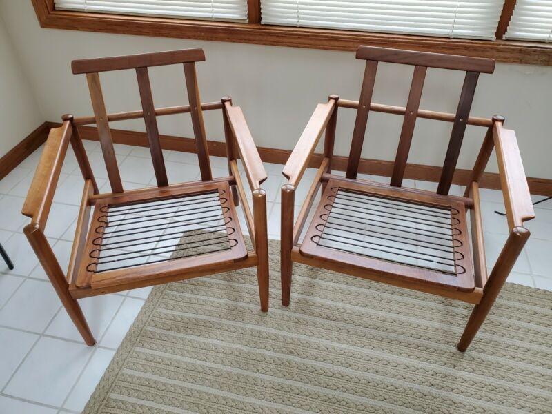Pair Danish Modern Mid Century Borge Jensen and Sonner Teak Chairs