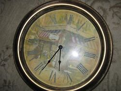 French Corner Cafe Plastic 16 Diameter Clock Battery Operated