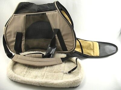 Extra Small Tan and Black Soft Mesh Side Dog Carrier with Fleece Bed