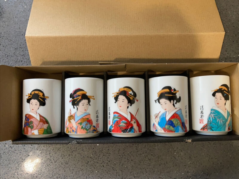 Japanese Tea Cup Set Of 5 Cups