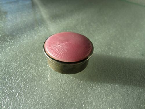 Art Deco 1928 Horton & Allday England Sterling Silver Pink Guilloche Enamel Box