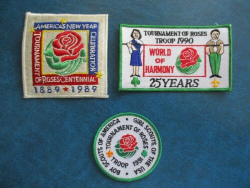 LOT OF 3 BOY SCOUTS TOURNAMENT OF ROSES TROOP PATCHES (1989, 1990 & 1991)