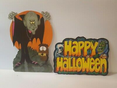 Vintage Halloween Die Cut Decorations Hallmark 1980 Laminated vampire skeleton