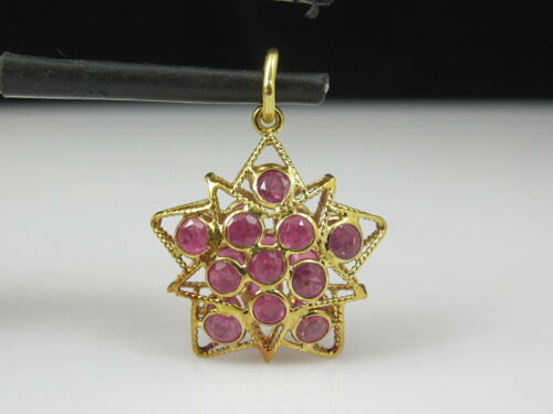 Ruby Pendant Vintage Charm 18K Yellow Gold Puffed Star Shape Genuine Jewelry