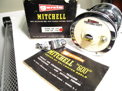 Vintage Garcia Mitchell 624 saltwater fishing reel in box with booklet