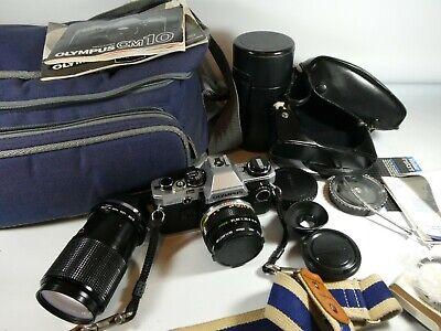 Old Vintage OLYMPUS OM 10  SLR 35mm Film Camera Set