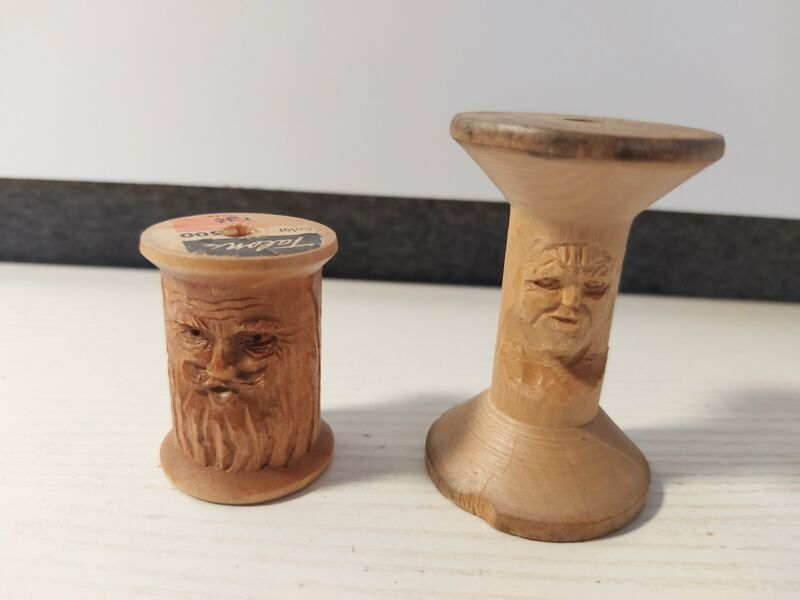 2 VINTAGE WOODEN THREAD SPOOLS HAND CARVED FACES FOLK ART FAST FREE SHIPPING