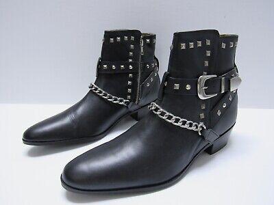 House of Hounds Jasper Studded Cuban Boots Black Leather Men's Size EU 44 US 11