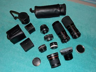 HUGE Vintage Camera Lens LOT Vivitar Albinar Tele Converters Cases B1887
