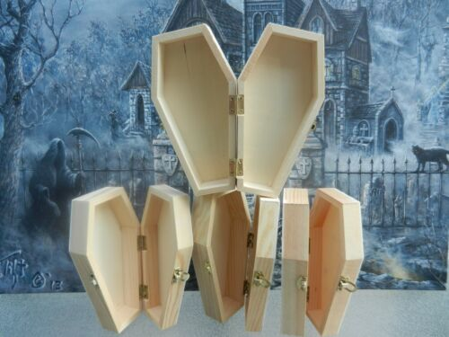"""Lot of 4,  approx 6"""" Halloween Hinged Unfinished Wood Coffin Casket  Hinges"""