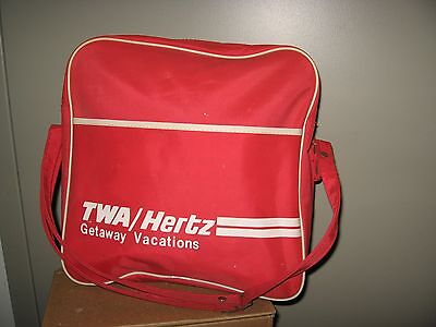 Twa Travel Bag   Vintage 1960S Trans World Airlines Hertz Car Rental Carry Tote