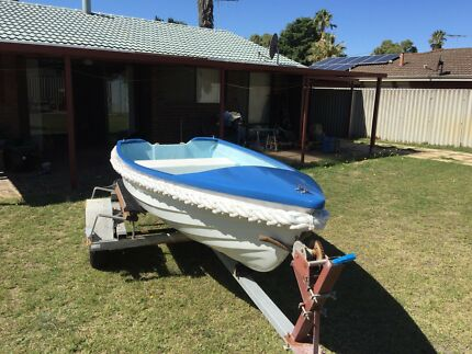 12 foot Fibreglass Dinghy with 5hp Mariner on licensed trailer