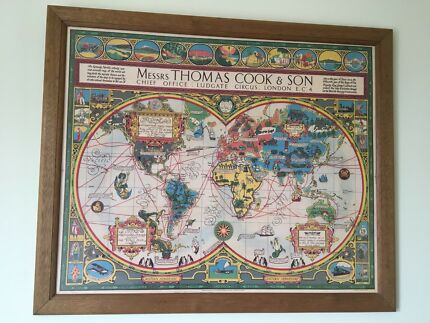 Typo world map art gumtree australia melbourne city north vintage world map in wooden frame gumiabroncs Image collections