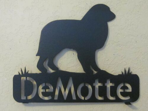 GREAT PYRENEES MAILBOX TOPPER (YOUR  NAME) STEEL BLACK POWDER COAT FINISH