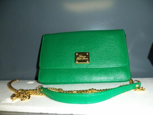 "Lauren Ralph Lauren Leather Evening Clutch Shoulder Bag w 25"" Gold Chain"