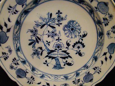 """Antique Ernst Teichert Meissen Blue Onion Plate 9 1/2"""" dia c 1900+"""