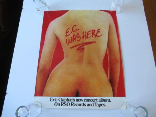 VINTAGE 1975 ERIC CLAPTON E.C.WAS HERE PROMO 27x21 ORIGINAL RECORD STORE POSTER