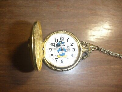 DISNEY GOLD TONE MICKEY MOUSE HANDCAR RAILROAD POCKET WATCH by VERICHRON