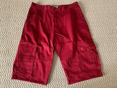 New Men's All Nation 1994 Brick Red Cargo Flap Pocket Shorts SIZES 32 34 36 (Cargo Flap Pocket Shorts)