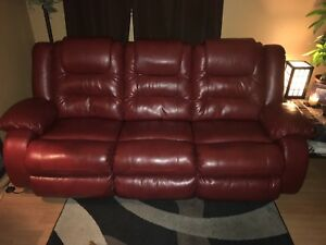 Red leather recliner couch