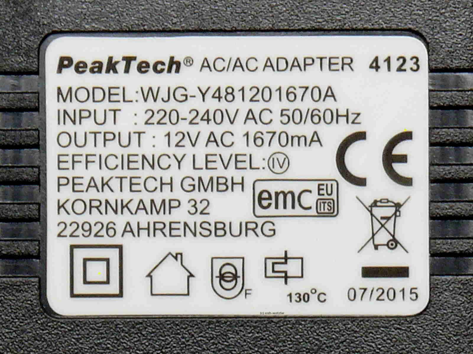 Steckertrafo 12V AC 1,67A (1670mA) -