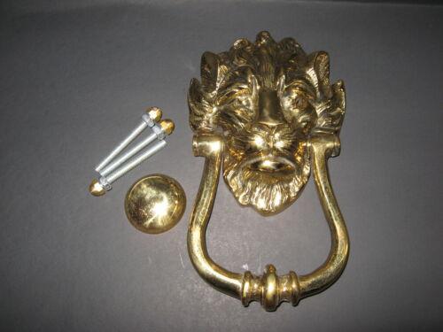 """Antique England Heavy Bronze Lion Head Door Knocker, 8.5"""" High, 2"""" Deep, 2.96-lb"""