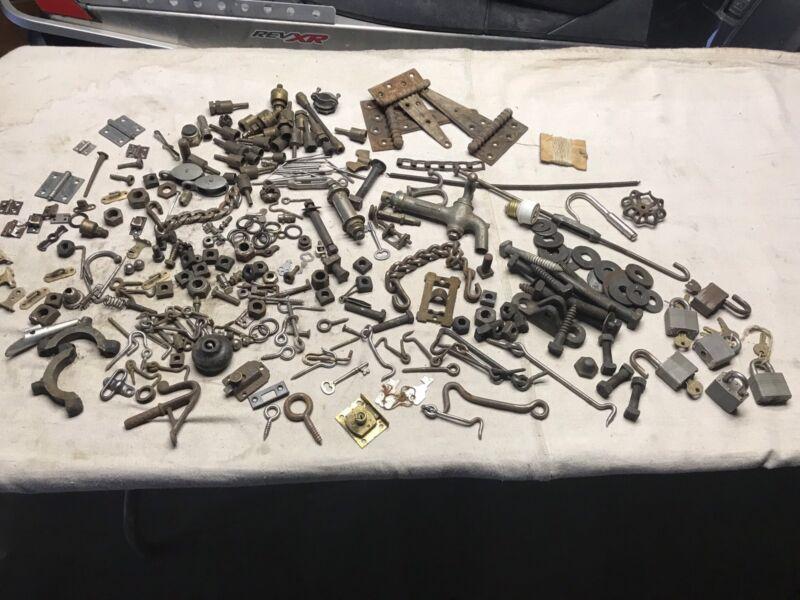 Antique Hardware Lot Hinges Locks Nuts Bolts Keys