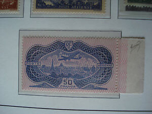 FRANCOBOLLO-FRANCIA-1936-IMOUN-50F-AZZURRO-E-ROSA-UNIFICATO-A15