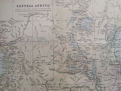 1891 Central Africa Original Antique Map showing the most recent explorations