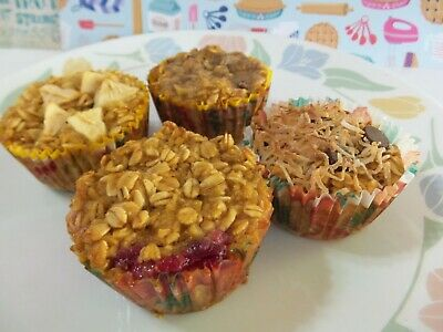 Healthy Applesauce Oat Muffins*No Flour LOW SUGAR LOW FAT/Sugar FREE All Natural