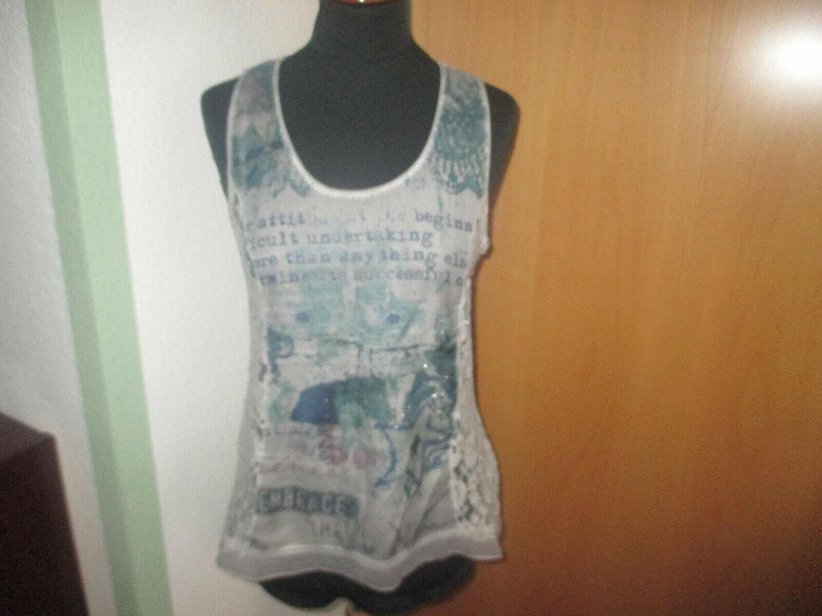 TREDY..Bluse / Shirt Gr.36..mit schöner Spitze & Strasssteinen..Armlos