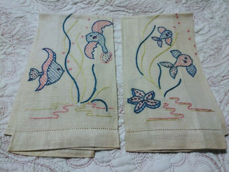 """Set of 2 Beautiful Tropical Fish Embroiderd Beige Linen Hand Towels 18.5"""" x 13"""""""