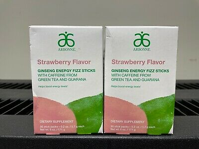 NEW! Arbonne Ginseng Energy Fizz Sticks - Strawberry Flavor #2111 - 2PK
