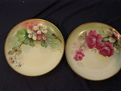 PAIR OF GINORI ITALY PORCELAIN HAND PAINTED PLATES RED ROSES, APPLE BLOSSOM