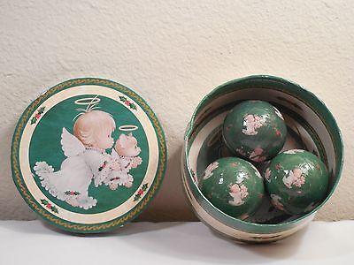 Rare Ruth Morehead 3 Decoupage Ball Ornaments & Box ~ Holly Babe & Kitty Angels