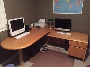 Solid Oak Desk and two office chairs