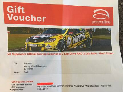 gift card / voucher adrenaline v8 supercar driving experience