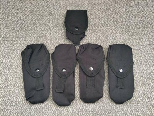 Airsoft Matrix Black 4x M4 Mag Pouches + 1x Accessory Pouch - Set of 5