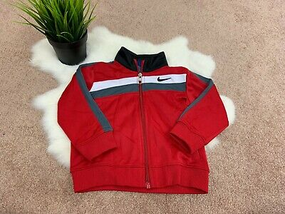 Nike Baby Boy Sport Jacket Sz 18M Full Zip Athletic Turtleneck Pockets Red