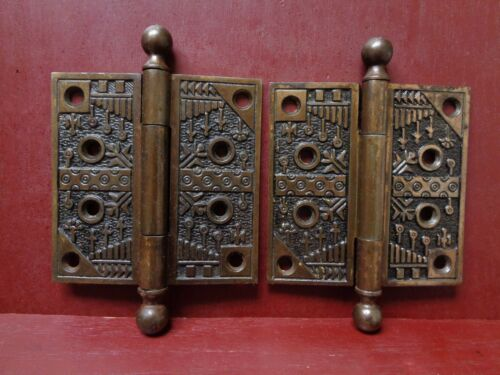 "2 ANTIQUE 4"" X 4"" CAST IRON READING HARDWARE WINDSOR HINGES"