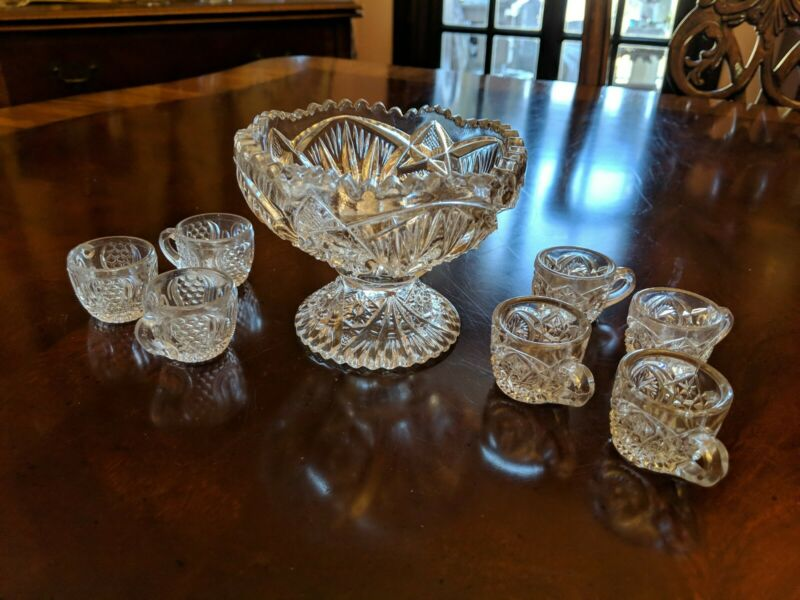 Miniature Punch Bowl And 7 unmatched  Cups