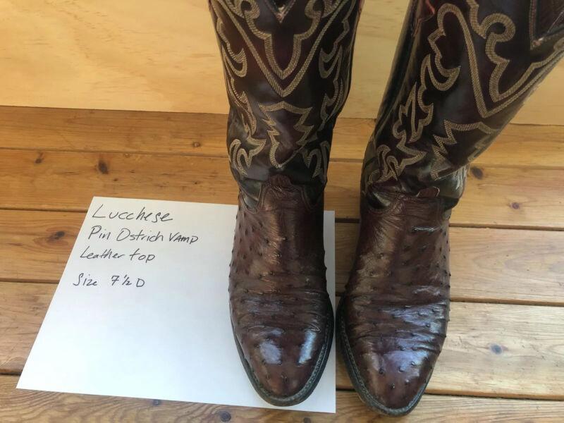 Mens, Lucchese, Ostrich, Skin, Cowboy, Boots