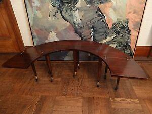 vintage antique fox hunt half moon ushaped coffee serving table