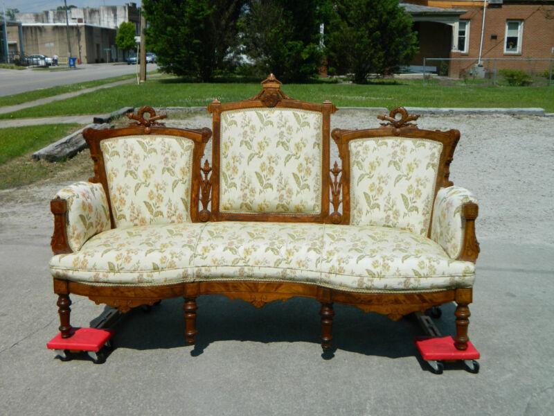 Walnut Victorian Triple Back Sofa Settee Laurel Wreath Carvings